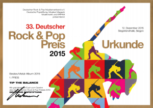 Deutscher Rockpreis - bestes Metal Album 2015