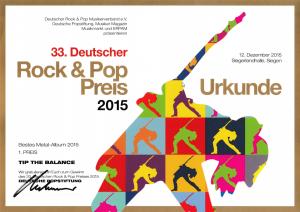 Deutscher Rockpreis - bestes Metal Album 2015